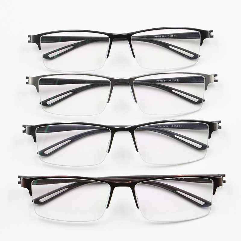 52d456406a TR90 Titanium Alloy Glasses Frame Men Semi Rimless Square Eye Glass  Prescription Eyeglasses Myopia Optical Frames Korean Eyewear