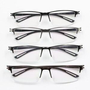 Image 5 - TR90 Titanium Alloy Glasses Frame Men Semi Rimless Square Eye Glass Prescription Eyeglasses Myopia Optical Frames Korean Eyewear