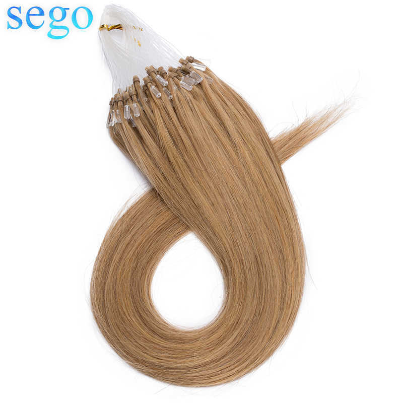 """SEGO 16""""-24"""" 0.5G/S 100pcs Straight Micro Bead Hair Extensions Non-Remy Micro Loop Human Hair Extensions Micro Ring Extensions"""