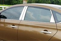 8pcs Chrome Central Window Pillar Posts Trim For Nissan Sentra Sylphy 2013 2017