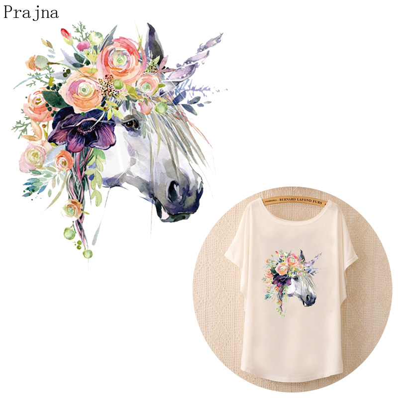 Prajna Heat Transfer Vinyl Patch Sticker Iron On Transfers For Clothes Flower Unicorn Patch Horse Fabric Transfer Thermal Badge