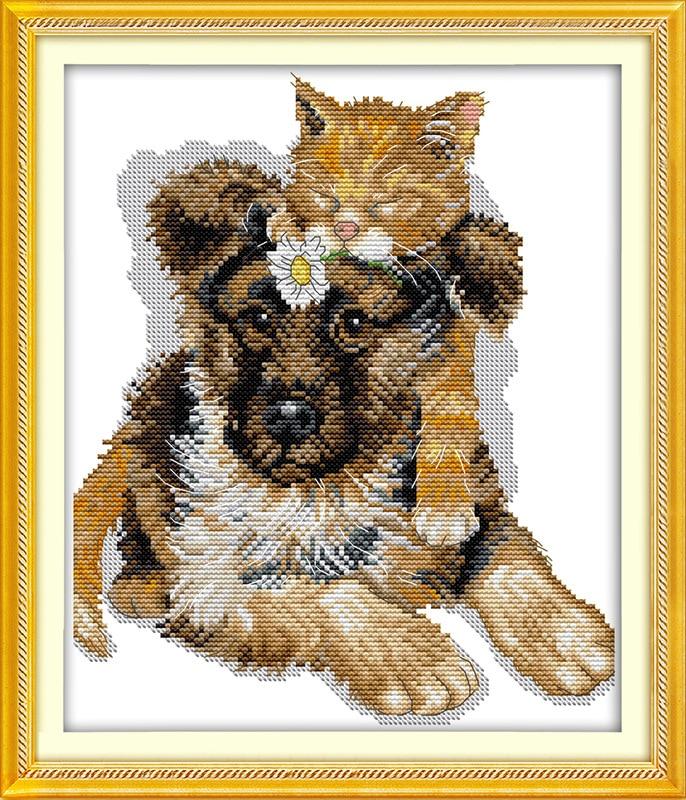 Spící kočky na psu Tištěné na plátně DMC Čítače - Umění, řemesla a šití