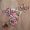 2pcs Baby Set Infant Baby Girls Clothes Summer Short Sleeve Cute Striped Floral Romper Sunsuit+Headband Baby Outfits Clothes Set