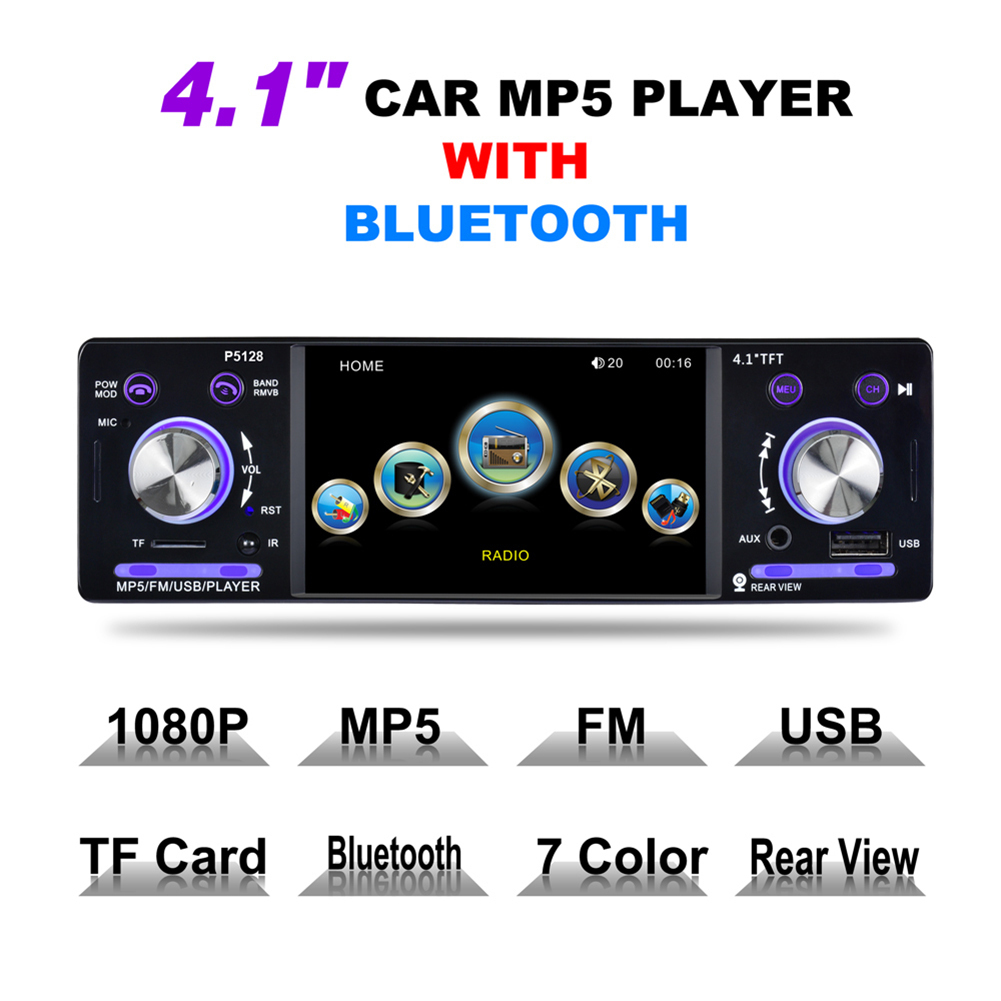 цена на 4.1 12V Bluetooth 1 Din FM Car Stereo P5128 Car Radio Autoradio Aux Input Receiver In-dash SD USB MP3 WMA APP Car Radio Player