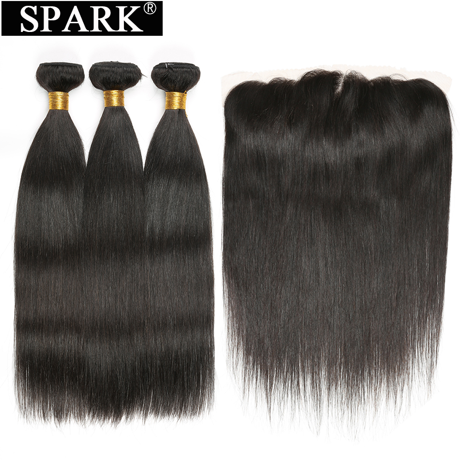 Spark Brazilian Remy Straight Human Hair 3/4 Bundles with Frontal Closure 13*4 Ear To Ear Lace Frontal Closure with Bundles