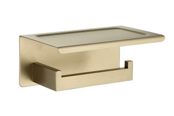Stainless Steel Wall Mounted Black Brushed Gold Toilet Paper Holder Bathroom Black Paper Tissue Roller Rod Square Shape SM666