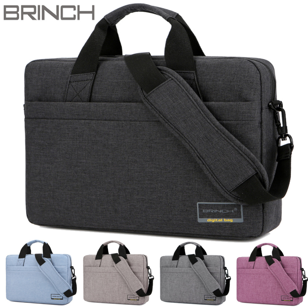 Brinch 13 13.3 14 15 15.6 Inch Solid Waterproof Nylon Laptop Notebook Bags Case Briefcase Messenger for Men Women Business