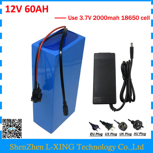 360W 12V 60AH battery 12 V 60AH 60000MAH Lithium ion battery 30A BMS for 12V 3S Ebike Battery 5A charger EU US no tax
