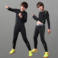 2017 Kids Boys Compression Running Pants Shirts Sets Jerseys Survetement Football Youth Soccer Training Skinny Tights