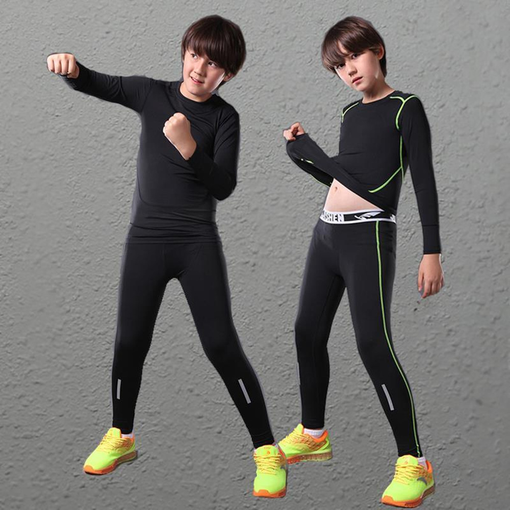 Kids Boys compression base layer running pants shirts sets football youth girls soccer training pant skinny tights leggings suit