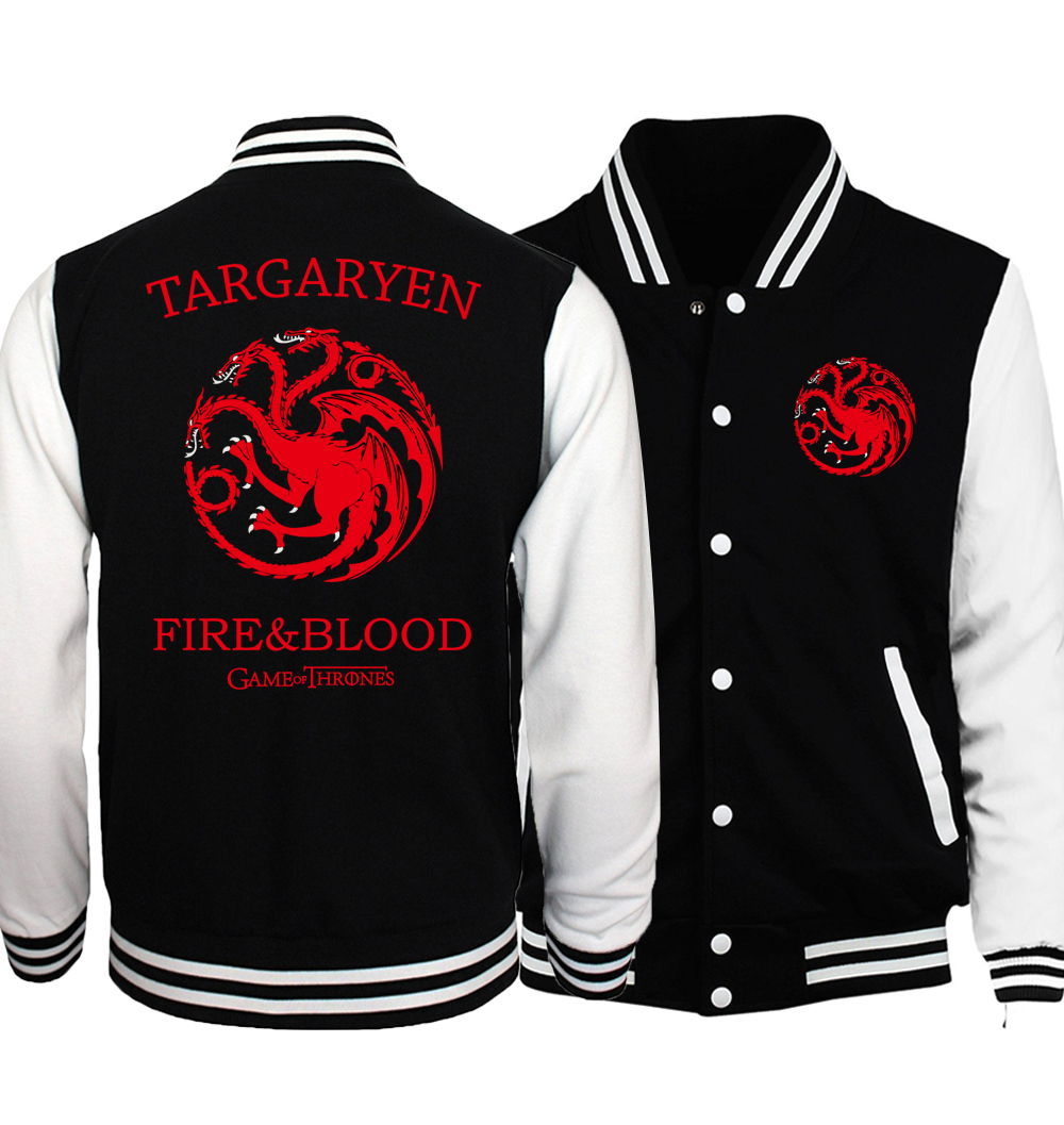 Game of Thrones Jacket Men Team Targaryen Fire Blood Baseball Uniform 2018 Spring Black  White Jackets Stark Coat Plus Size 5XL