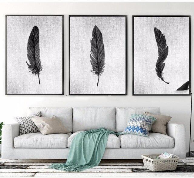 nrdico decoracin para el hogar pintado a mano blanco y negro plumas lienzo pintura cuadros para - Cuadros En Blanco Y Negro