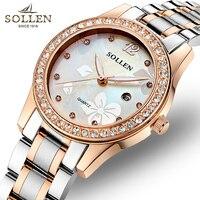 Роскошные женские часы бренд SOLLEN Золотая рифленая Нержавеющая сталь платье Женские кварцевые наручные часы Элегантные водонепроницаемые