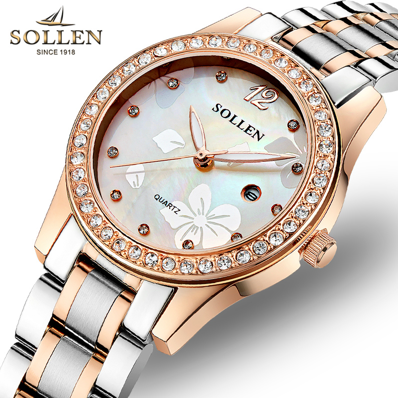 Luxury Woman Watches Brand SOLLEN Gold Stainless Steel Diamond Dress Women Quartz Wristwatch Elegant Waterproof Lady Clock  kimio fashion brand women watches lady quartz diamond watches lady dress watches female clock women stainless steel wristwatch