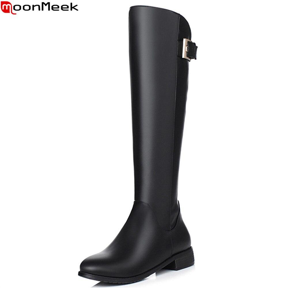 MoonMeek black new arrive women boots high quality pu zipper round toe square heel ladies boots buckle low heel knee high boots цены онлайн