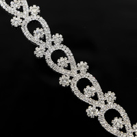 100Yards Sliver Rhinestone Trim Clear Crystals Applique Trimming For Wedding Belt Sash For Bridal Dresses