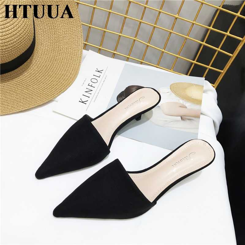 HTUUA 2019 חדש קיץ נעלי נשים דק העקב נעלי בית נמר הבוהן מחודדת להחליק על פרדות נעלי אישה שקופיות גבירותיי סנדלי SX2595