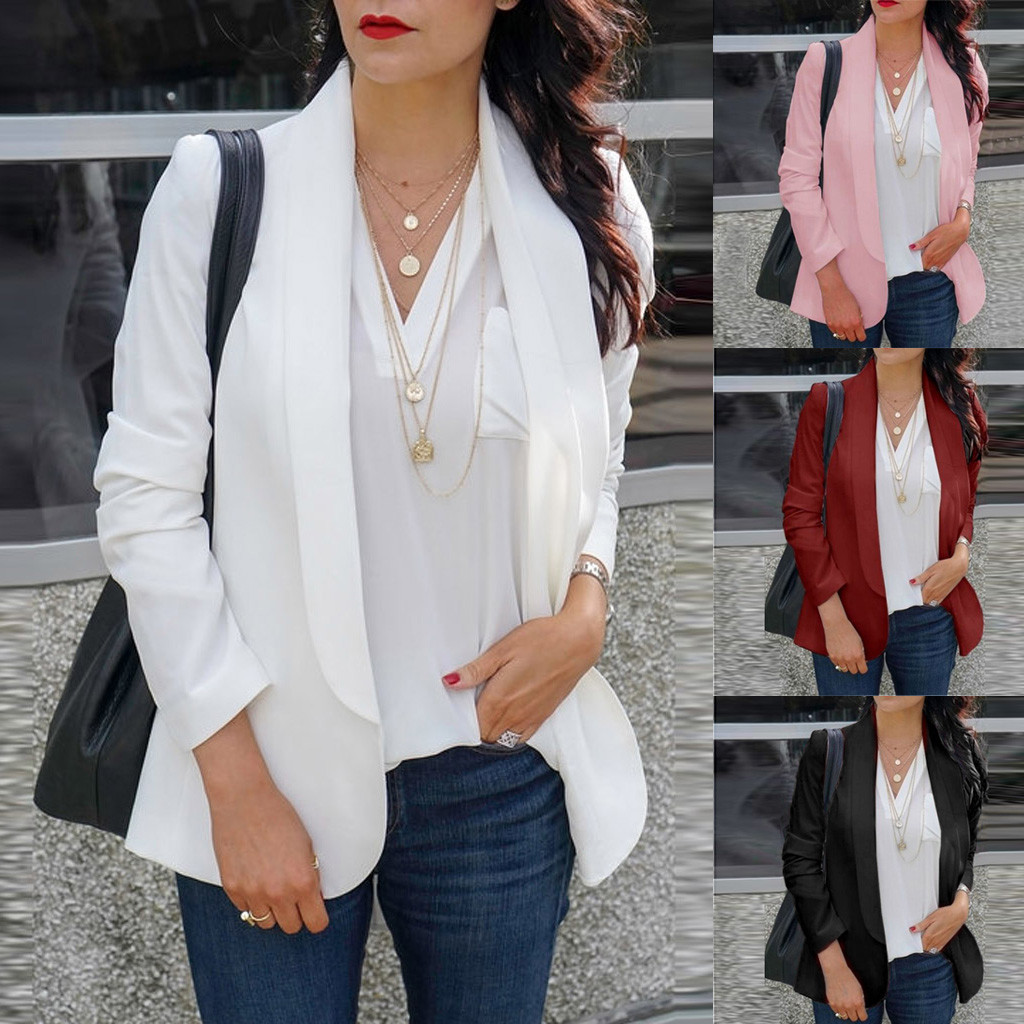 HTB1BTNpaQY2gK0jSZFgq6A5OFXaL 30#Feminino Women White Long Sleeve Open Front Cardigan Suit Jacket Work Office Knit