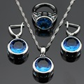 Made in China Round Blue Created Topaz Silver Color Bridal Jewelry Sets For Women Pendant Necklace Earrings  Free Gift Box