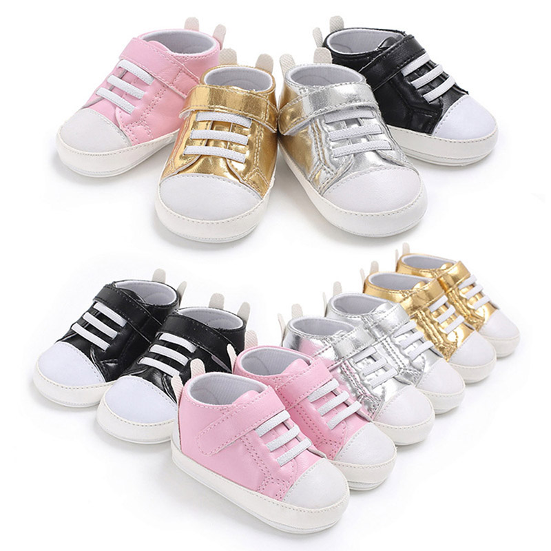 Fashion Rubber Bottom Baby Shoes Infant First Walkers Fashion PU Leather Baby Boy Girl Sneakers Kids Toddler Newborn Crib Shoes