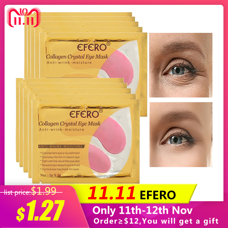 EFERO 5pair Eye Masks Face Mask Dark Circles Crystal Collagen Eye Mask Gel Pink Eye Patches Eye Care Moisturizing Cream Anti-Age маска librederm plant stem cells anti age mask intensive care for face neck and decollete