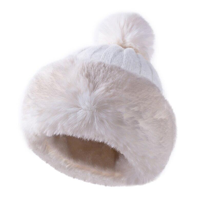Knitted Hat Women Winter Soft Keep Warm Beanies Female Plus Velvet Fashion Pompom Knit Cap Outdoor Warm Casual Hat Skullies