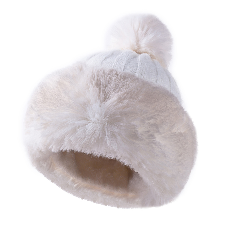Knitted Hat Women Winter Soft Keep Warm   Beanies   Female Plus Velvet Fashion Pompom Knit Cap Outdoor Warm Casual Hat   Skullies
