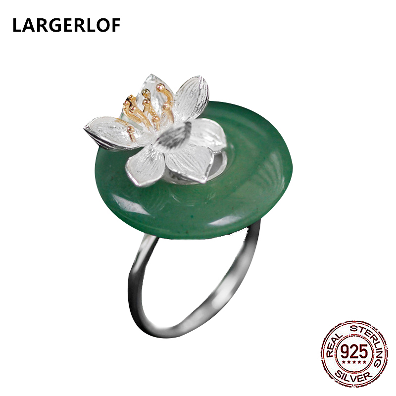 LARGERLOF 925 Sterling Silver Ring Silver 925 Ring Fine Jewelry Chalcedony 925 Silver ring JZJZ5754