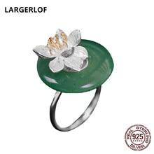 0851fb0e6134a LARGERLOF Real 925 Anéis de Prata Da Forma 925 prata Esterlina Jóias Anéis  de Flores Mulheres JZJZ5754