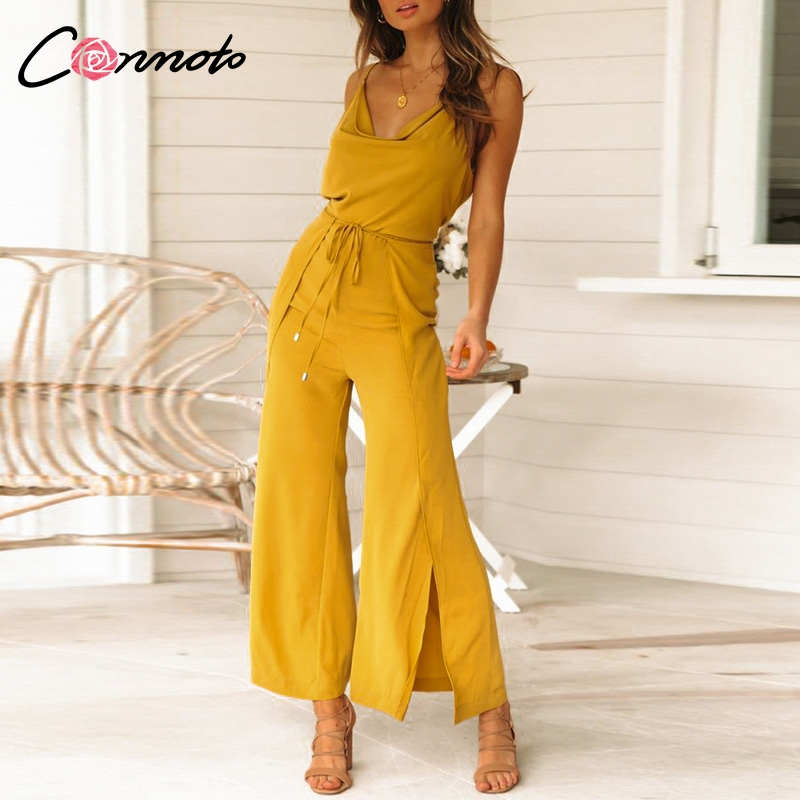 Conmoto Elegant OL Solid Lace Up Women   Jumpsuit   Split Spaghetti Strap Summer Jumpsuis Casual Beach 2019 Wide Leg   Jumpsuit