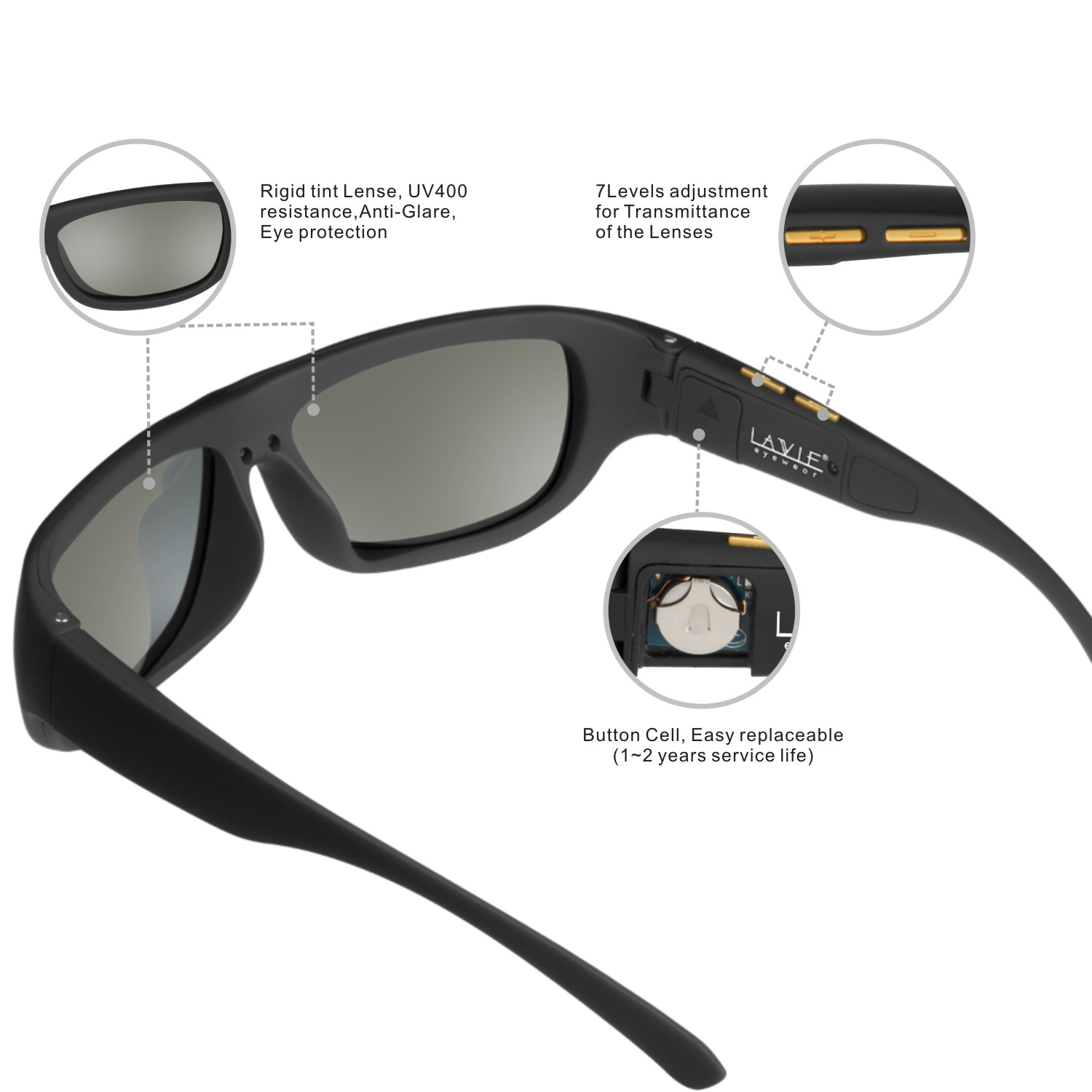 Controlyour own tint or let your sunglasses adapt to the light of your surroundings