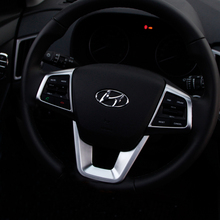 For Hyundai Creta Ix25 2015-2018 ABS Chrome Steering Wheel decoration Buttons Cover Trim interior Mouldings  styling Accessories