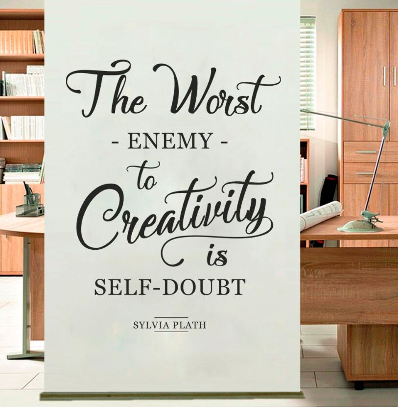 Wall Sticker The Worst Enemy to Creativity Quote Studio Wall Decal Removable Home Decor Sylvia Plath Office Wall Art Mural AY061