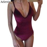 2018 Spring Sexy V Neck Backless Halter Women Rompers Summer Sling Swimsuit Corduroy Pink Bodysuit Women
