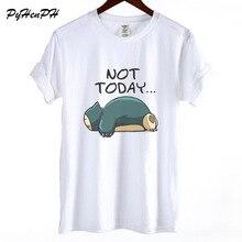 Покемон Футболка женская забавная Snorlax Not Today принт короткий рукав Футболка женская крутая летняя хлопчатобумажная футболка женская блуза