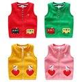 2016 New Girls Vests Children's Cotton Warm Vest Baby boys Sweet cartoon rabbit cars Waistcoat High Quality Kids Vest Outerwear