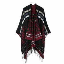 TOLINA wild Women Knitted Cashmere Poncho Capes Shawl Cardigans Sweater Coat winter