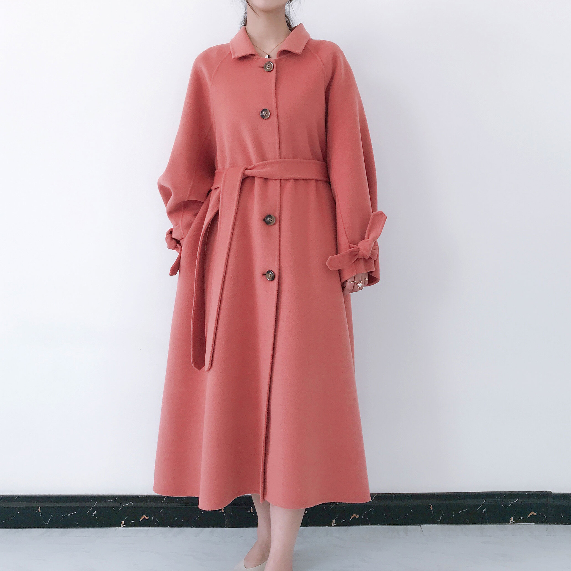 Laine Trench Bleu Femmes 2019 Ligne pink Unique Bouton Coréenne blue Red Supérieure Outwear Tan coat Lx1955 light Pour De Qualité Une Ayunsue Long Manteau brown AXO6wqx