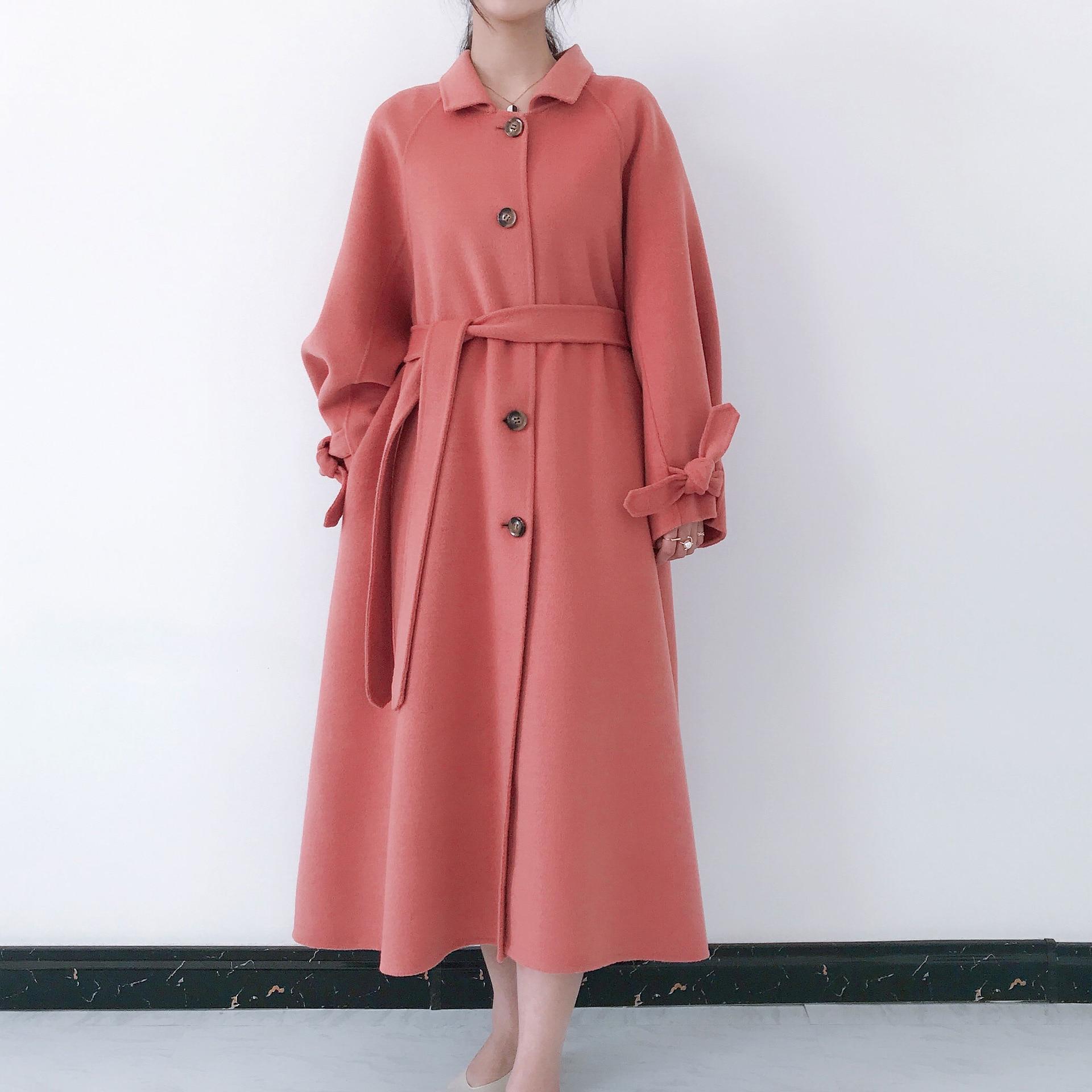 Red blue Supérieure 2019 Unique Tan Bleu Bouton Une Laine Coréenne Outwear pink De Pour Qualité light coat Long brown Femmes Lx1955 Ayunsue Trench Manteau Ligne Ew1H0nwq