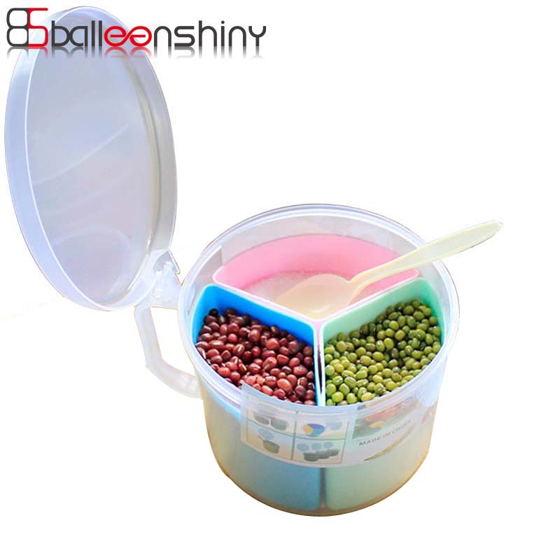BalleenShinyThree Grid Salt Spice Seasoning Storage Box Multifunction Round Plastic Cover Spoon Detachable Container Canister