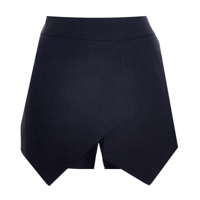 Новые повседневные шорты для женщин Летние шифоновые европейские шорты высокий эластичный пояс свободные шорты - Цвет: Черный