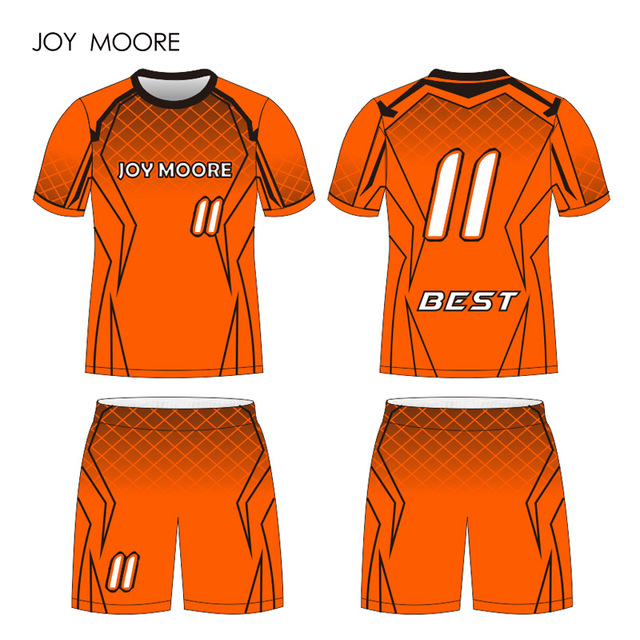 d3cc865ac94 orange and black Football Jersey Custom Sponsor Name Number Include  Printing Sublimation Printing Soccer Jersey
