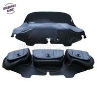 6 Black Windshield Bag Saddle 3 Pouch Pocket Motorcycles Bag Case For Harley Davidson Touring 1996