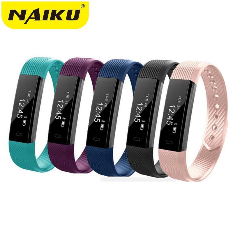 NAIKU ID115 Pulseira Inteligente Monitor de Rastreador De Fitness Passo Contador Atividade Banda Despertador Vibração Pulseira IOS Android phone