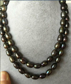 """stunning 12-13mm Tahitian black green pearl necklace 38"""""""