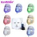 Konmison led máscara facial 3/7 cores led photon máscara facial de rugas remoção da acne rejuvenescimento da pele facial massagem facial máscara de beleza