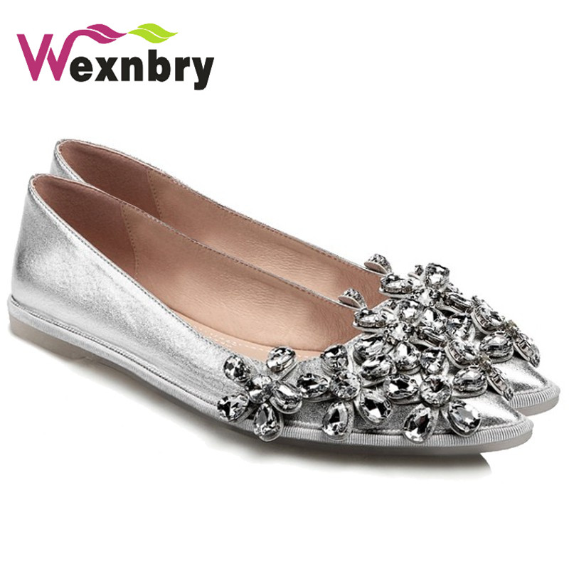 2017 Women Flats Luxury Rhinestones Shoes Woman Elegant Ballet Flats Slip  On Ladies Flat Shoes Pointed Toe Girls Footwear-in Women s Flats from Shoes  on ... 3b93cfb59edc