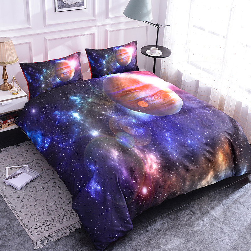 Galaxy Space Quilt Cover Duvet Cover Twin Full 3D Starry Bedding Set Pillowcases