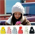 2017 new lady's fashion button twisted knitting wool warm hat cap lovely winter fashion accessories best gift