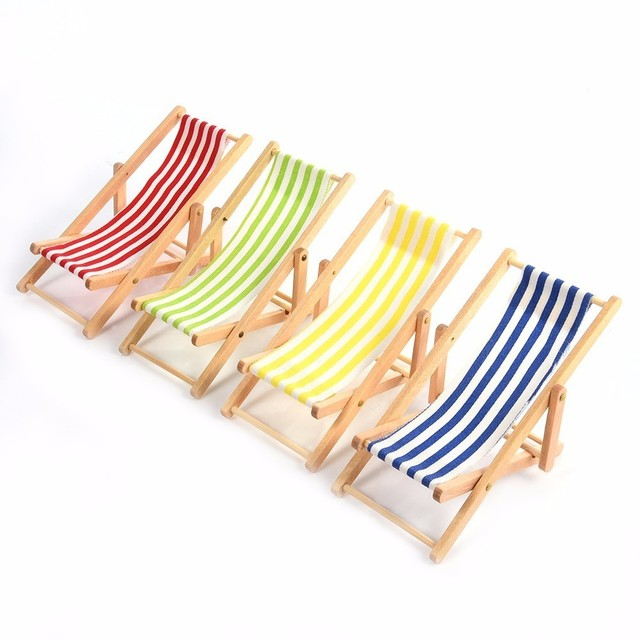 Miniature Colorful Stripe Wooden Diy Lounge Beach Lawn Chair Dollhouse Garden Ornaments